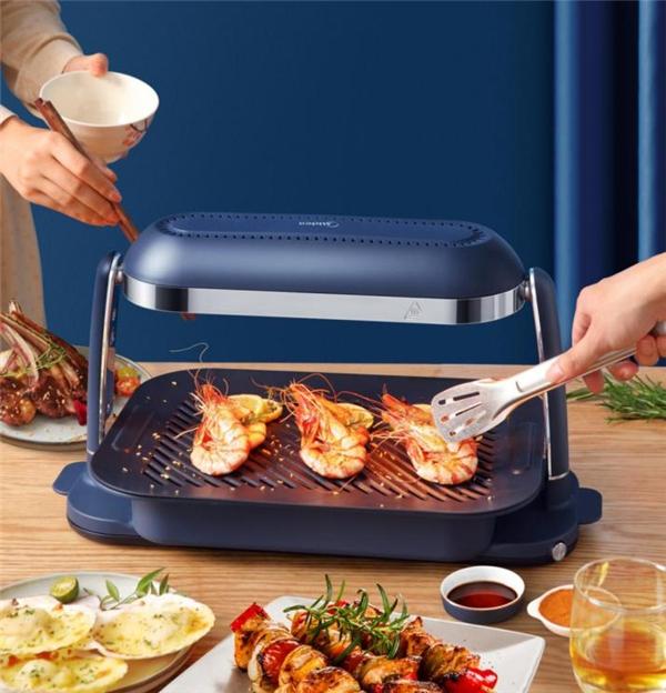 桌面烧烤神器!美的照烧炉让你在家烧烤无烟不油腻